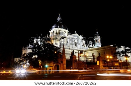 Night view of the Cathedral of Almudena in Madrid. - stock photo