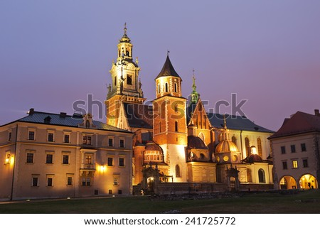 Night view of the cathedral of St Stanislaw and St Vaclav and Royal Castle on the Wawel Hill, Krakow, Poland - stock photo