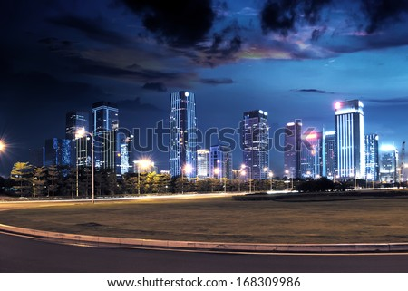 night view of the century avenue in city - stock photo