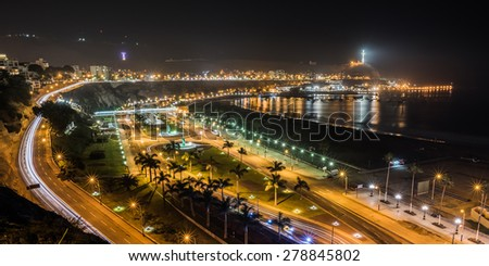Night view of the Chorrillos Bay in Lima, Peru. - stock photo