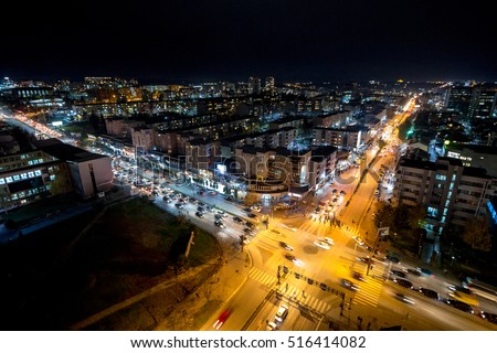 Night view of the crossroad between Bill Clinton Boulevard and George W Bush Boulevard seen from the Mother Tereza Cathedral in Pristina, capital city of Kosovo.
