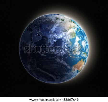 Night view of the Earth from space with lights glowing in urban areas. - stock photo