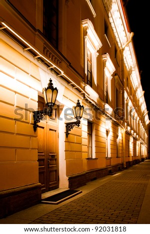 Night view of the entrance with lanterns - stock photo