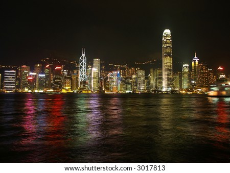 night view of the hong kong skyline city