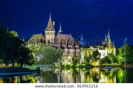 night view of the illuminated vajdahunyad castle in varosliget parc in budapest. - stock photo