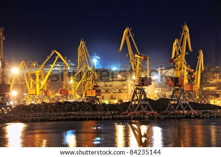 night view of the industrial port with cargoes - stock photo