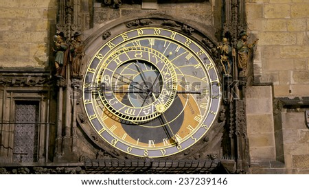 Night view of the medieval astronomical clock in the Old Town square in Prague, Czech republic   - stock photo