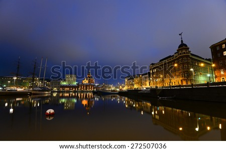 Night view of the Old Town in Helsinki, Finland/Old Town in Helsinki/Old Town in Helsinki, Finland - stock photo