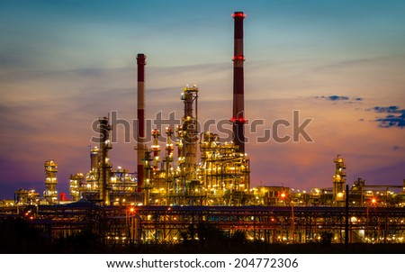 Night view of the refinery petrochemical plant in Gdansk, Poland Europe. - stock photo
