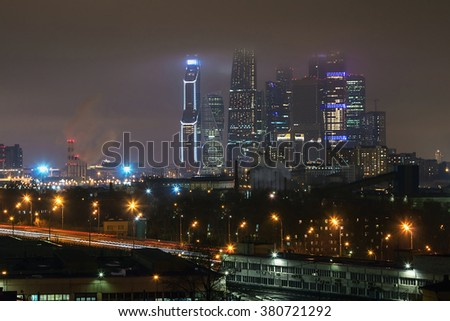 Night view of the residential and financial development of Moscow. Focus on skyscrapers