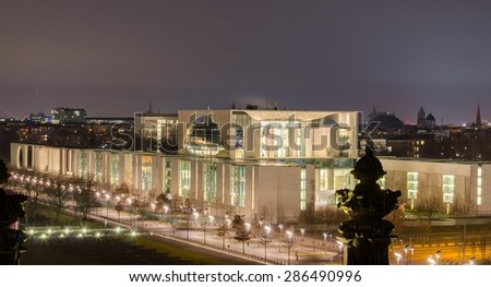 night view of the seat of german chancellor taken from the rooftop of reichstag. - stock photo