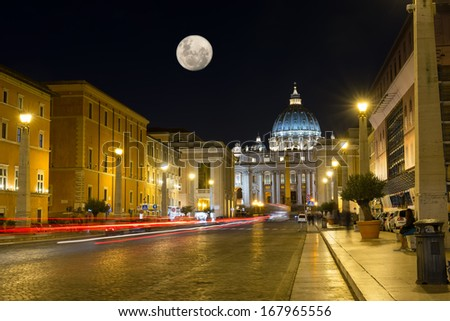 Night view of the St  Peter s Basilica in Rome, Vatican. Italy - stock photo