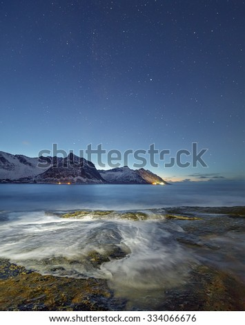 Night view of the Steinfjord on the Senja island, Troms county (long exposure) - Norway - stock photo