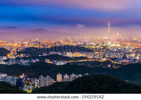 Night view of the Taipei city, Taiwan - stock photo