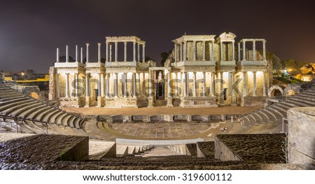 Night view of the The Roman Theatre Merida, Extremadura, Spain. Front view - stock photo