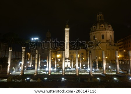 night view of the Trajan Forum in Rome, Italy - stock photo