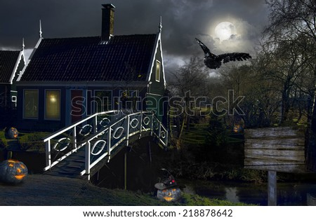 Night view of the village in the Netherlands - stock photo