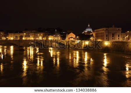 night view of Tiber river and Vatican City
