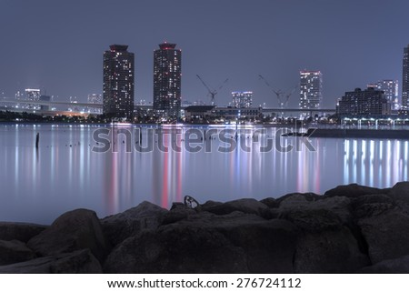 Night view of Tokyo cityscape from the bay in Odaiba, Tokyo, Japan - stock photo