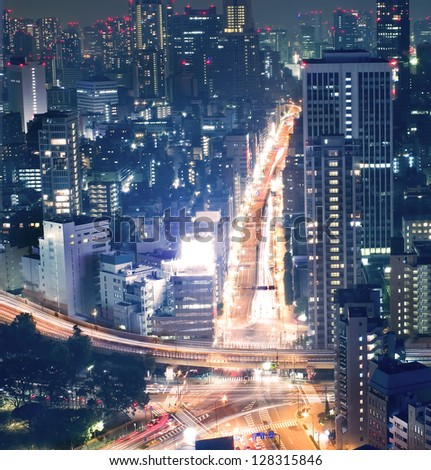Night view of Tokyo cityscape , the central business district - stock photo