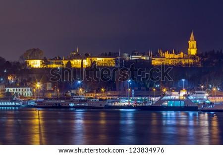 Night view of Topkapi Palace, Istanbul, Turkey - stock photo
