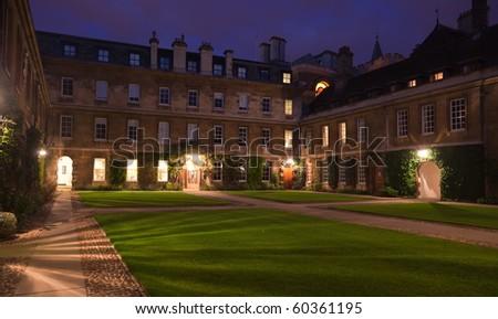 Night view of Trinity Hall College. Cambridge. UK. - stock photo