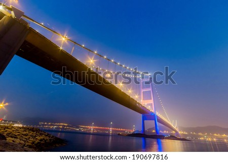 Night View of Tsing Ma Bridge from Park Island in Hong Kong