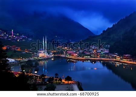 Night view of Uzun Lake (Uzungol) - stock photo
