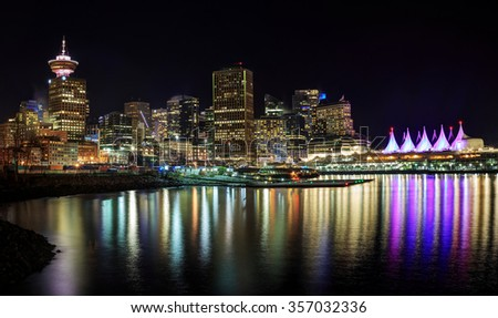 Night view of waterfront downtown Vancouver - stock photo