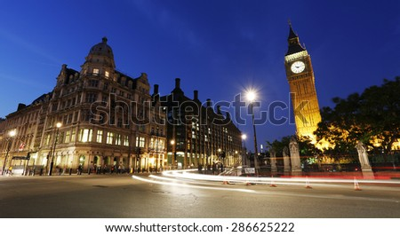 Night View of Westminster Parliament Square, Include Big Ben Clock Tower