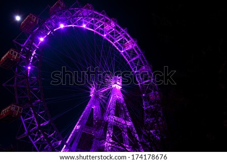 Night view of Wiener Riesenrad in Vienna, Austria. - stock photo