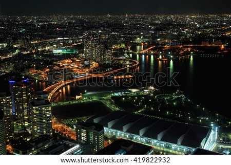 Night view of Yokohama City and Minato Mirai waterfront district from yokohama landmark tower - stock photo