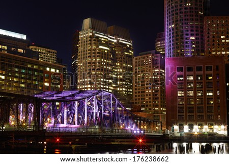 Night view on Boston Inner Harbor - stock photo