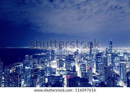 Night View On Chicago Skyline - stock photo