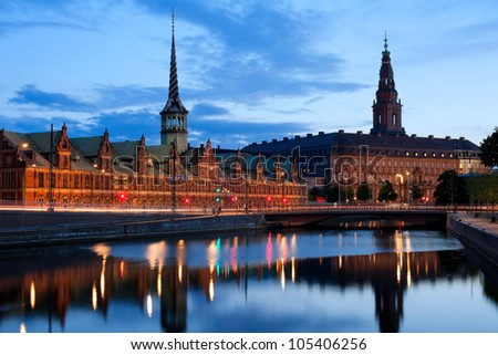 Night view on Christiansborg Palace over the channel in Copenhagen. GPS information is in the file - stock photo