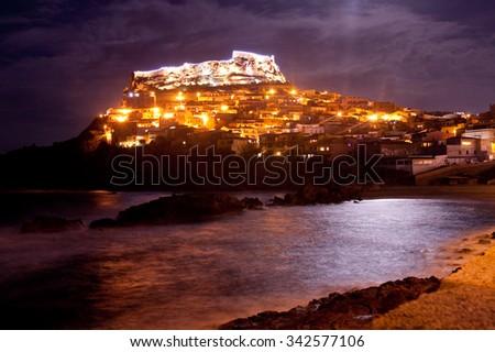 Night view on christmas Castelsardo, Sardinia - stock photo