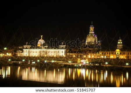 Night view on historical center of Dresden, Germany - stock photo