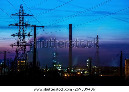 Night View on Oil refinery unit in the countryside - stock photo