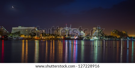 Night view on resort hotels of Eilat, Israel - stock photo