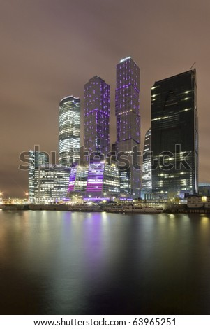 """Night view on skyscrapers of """"Moscow-City"""" office district. Location: Moscow, Russia, 27/10/2010 - stock photo"""