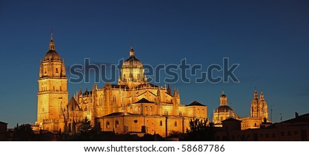 Night view on the Cathedral of Salamanca, Spain - stock photo