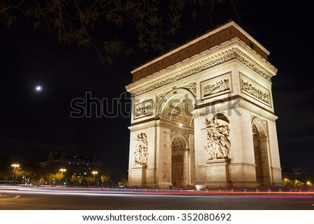Night view on the Triumphal arch in Paris - stock photo