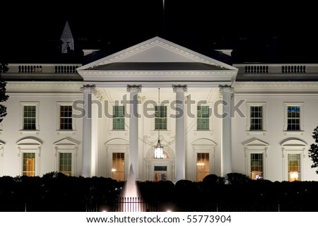Night view on White house's west side - stock photo