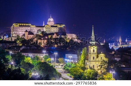 Night view over Buda castle complex and adjacent area of danube river in Budapest, Hungary. - stock photo