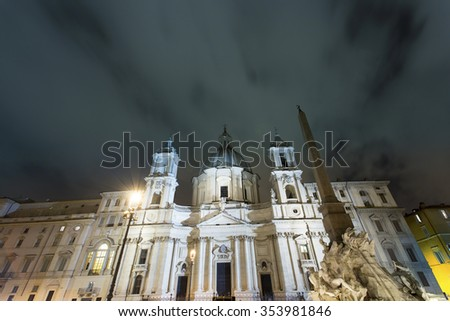 Night view over piazza Navona in Rome ,Italy - stock photo