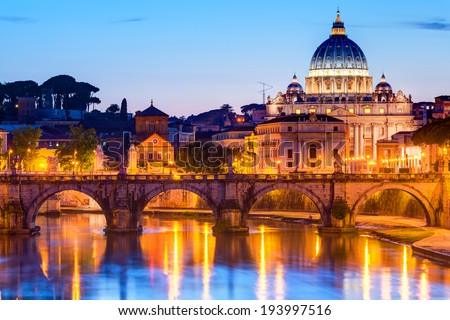 Night view Sant'Angelo and San Pietro (St. Peter's cathedral) in Rome, Italy - stock photo
