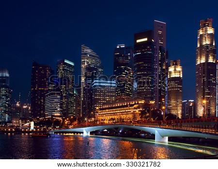 Night view to Singapore - stock photo