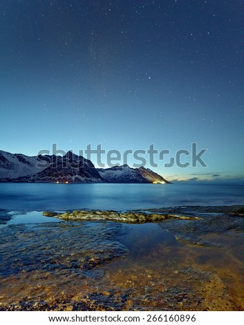 Night view to Steinfjord on Senja island, Troms county (long exposure) - Norway - stock photo
