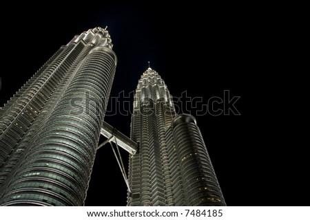 Night views of Petronas Twins Towers, Kuala Lumpur - stock photo
