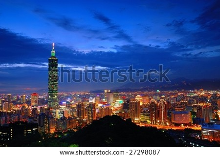 Night was coming of Taipei 101 - stock photo